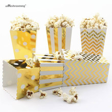 (12 pieces/lot) Wedding Popcorn Box Gold Foil Small Favor Boxes in Chevrons Polka Dots and Stripes(China)