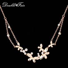 Anti Allergy Butterfly Cubic Zirconia Choker Necklaces & Pendants Fashion Wedding Vintage Crystal Jewelry For Women Chain DFN038(China)