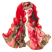 Support wholesales Women Chiffon Scarf Peony Printing Shawls Scarves Silk Scarf 8 Blue Pink