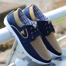 2016 New Brand Fashion Blue Canvas Casual Men Shoes Breathable Non slip Low top British Flat Drving Shoes Zapatos Hombres