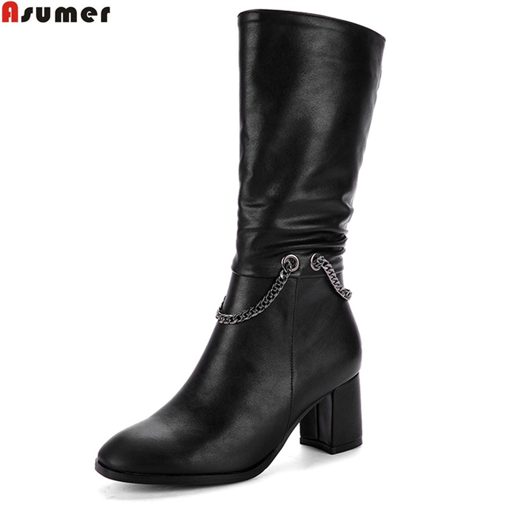 Asumer black new arrive women boots flock high quality pu square toe ladies boots zipper chain autumn winter mid calf boots<br>