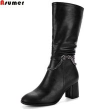 Asumer black new arrive women boots flock high quality pu square toe ladies boots zipper chain autumn winter mid calf boots(China)