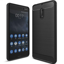 Slim Hybrid Super rugged armor cover For Nokia 6 case Carbon Fiber Texture Brushed Silicone caus for Nokia 6 phone case ( XX89 )