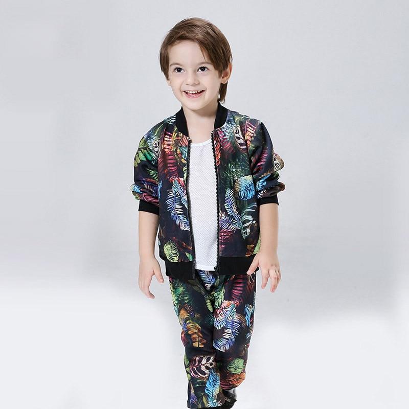 2-8T Boys Clothes Winter Boys Tracksuit Long Sleeve Printed Korean Children Clothing Set Coat+Pants 2pcs Boutique Kids Clothing<br>