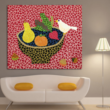 Bird And Vegtables By Ayoi Kusama Gallery of Modern Art Red Background Canvas Painting Home Decor Wall Art Printed Painting(China)