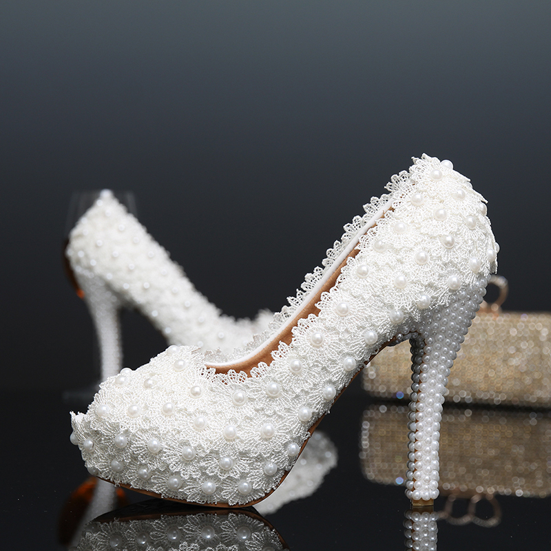 Sexy High-Heeled Formal Shoes Peep Toe Women Pumps Platform Beautiful Pearl Lace White Wedding Shoes size 34-39<br><br>Aliexpress