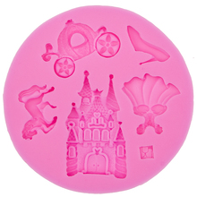 fairy tale pumpkin car horse shoes castle skirt DIY cooking mold wedding cake decorating silicone mould fondant tools F0527
