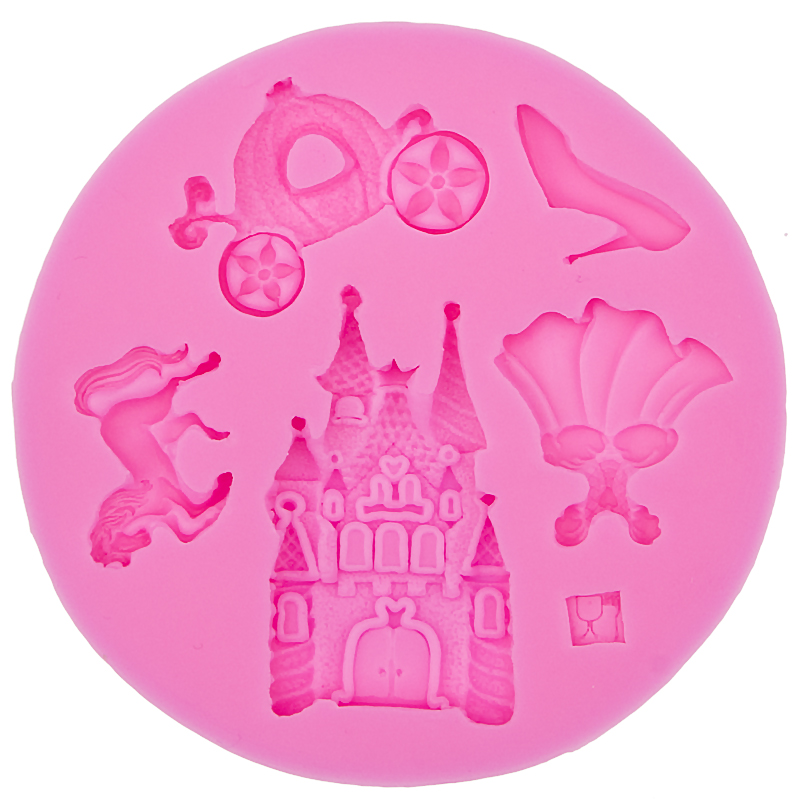 fairy tale pumpkin car horse shoes castle skirt DIY cooking mold wedding cake decorating silicone mould fondant tools F0527(China (Mainland))