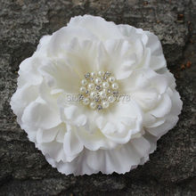 Peony flower with bling Rhinestone pearl fabric flower head flat back layered Gorgeous flower DIY hair accessories 480pcs/lot