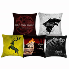Fashion Winter Is Coming Cushion Cover Wolf Square Pillow Covers Camping 18X18 Linen Home Accessories Ramadan Decorations Cojin