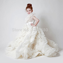 F3 Royal Ball Gown First Communion Dresses For Girls Tiered Ruffles Long Cream Flower Girl Dress Party Girl Children Baby