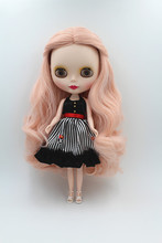 Blygirl Blyth doll Pink wavy curly hair 30cm ordinary joint doll 7 joint frosted face doll(China)