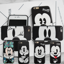 Fashion Cute Cartoon Mickey Minnie Mouse case For iPhone 6 6s 7 Plus 5s SE cover capa fundas coque for iphone 6s 5 7 phone cases