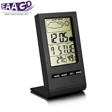 EAAGD Indoor Humidity Monitor Hygrometer Digital Thermometer Monitor Home Weather Station with LCD Display Alarm Clock Calendar(China)