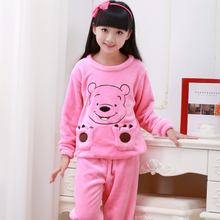 Children Pajamas Autumn Winter Fund Girl Long Sleeve Flannel Coral Down Children's Garment Children Home Furnishing Serve Suit(China)