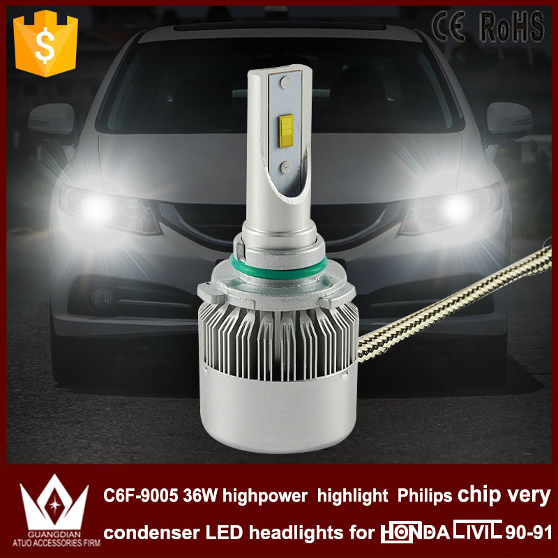 Guang Dian car led light Headlight Head lamp HIGH BEAM C6F 6000K white 12V 36W 3800LM 9005 HB3 Fit for civic 1990-1991 only<br><br>Aliexpress