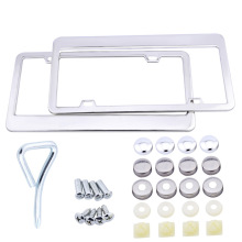 2pcs Stainless Steel License Plate Frame Tag Cover Holder Front Rear Plate Tag Cover With Screw Caps For American Canada Car