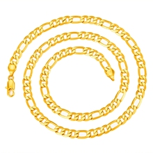 "Hot Sale Mens Gold-color Italy Figaro Chain Necklace Jewelry 24"" 60CM"