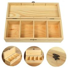 Vintage 4 Compartments Wooden Tea Box Jewelry Accessories Storage Container Pine Wood Tea Gift Store Box Case Container