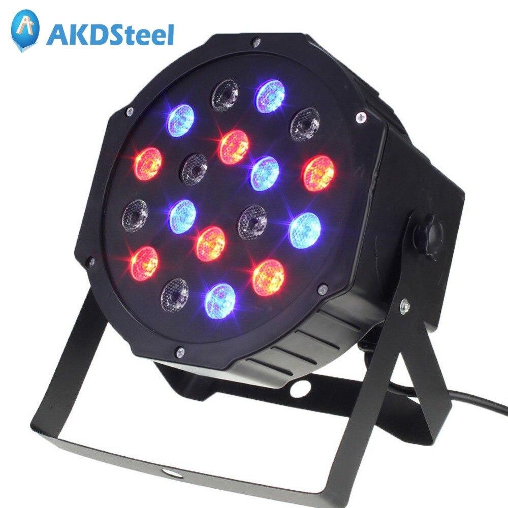 AKDSteel Professional Stage LED Lights 18 RGB PAR LED DMX512 Master-Slave Flat Projector Lamp for DJ Disco Party Lighting EU/US <br>