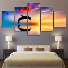 Canvas HD Prints Pictures Living Room Wall Art 5 Pieces Dolphins Swim Jump Paintings Home Decor Sunset Seascape Poster Framework(China)