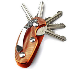 Free Shipping Outdoor Unique EDC Lightweight Folding Keys Organizer Holder Pocket Aluminum Key Holdear Key Bar Aluminium Clip