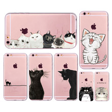 Cute Cat Case Cover For Apple iPhone 6 6s 7 Plus 6sPlus 6Plus 4 4s 5 5s SE Transparent Soft Silicone Cell Phone Bag Capa Cases(China)