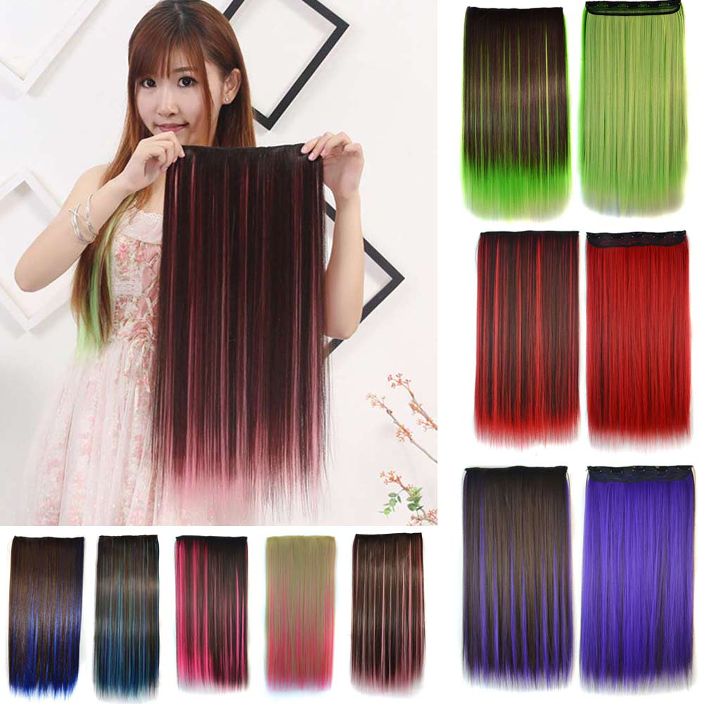 Women Hair Extensions Colorful Straight Long High Tempreture Synthetic Hair Clip Hairpiece Wig YF2017(China (Mainland))