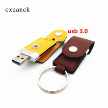 exuanck custom logo high quality leather high speed usb 3.0 memory stick flash pen drive 4-32GB 64GB (over 50 pcs free logo)(China)