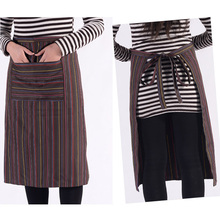 1pc Pocket Stripe Bib Apron Long Sleeve Cuff Waterproof Aprons Cooking Baking Dress Kitchen Cooking Cleaning Tool Accessories