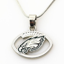 10pcs Philadelphia Eagles Football Team Football sports necklace Jewelry with snake chain(45+5cm) necklace Charms Pendant(China)
