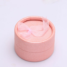 engagement ring box pink round paper box for wedding ring 1pc order free drop shipping packing jewelry accessories box gift(China)