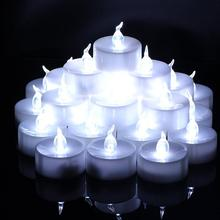 24pcs Flickering Electric Candle Lights Battery Operated Cold White Flickering Flameless LED Tea Light for Lighting Decoration