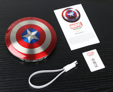 Cool 6800mAh Power Bank The Avengers Captain America Shield Mobile Charger Mobile Power Supply External backup Battry