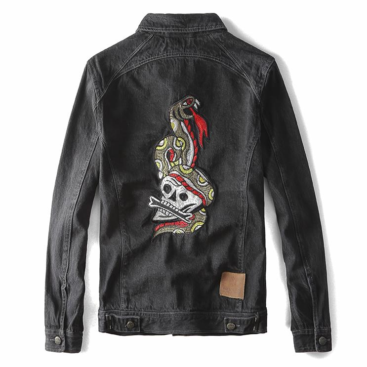 High Quality Mens Motorcycle Biker Denim Jackets Snake Skull Embroidery Black Slim Classic Trucker Jeans Coat S-2XL