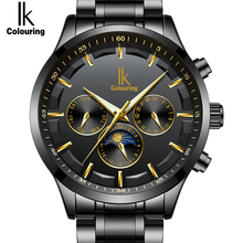 IK Genuine New Fashion Automatic Self-Wind Men Watches Full Steel & Genuine Leather Moon Phase Multi-Functional Luxury Watch Men(China)