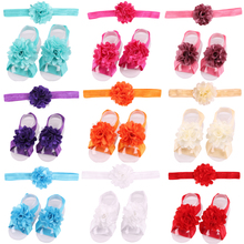 Baby Girls Headband Toddlers Kids Infants Hairband lace flowers Foot straps Children feet headband flower sets
