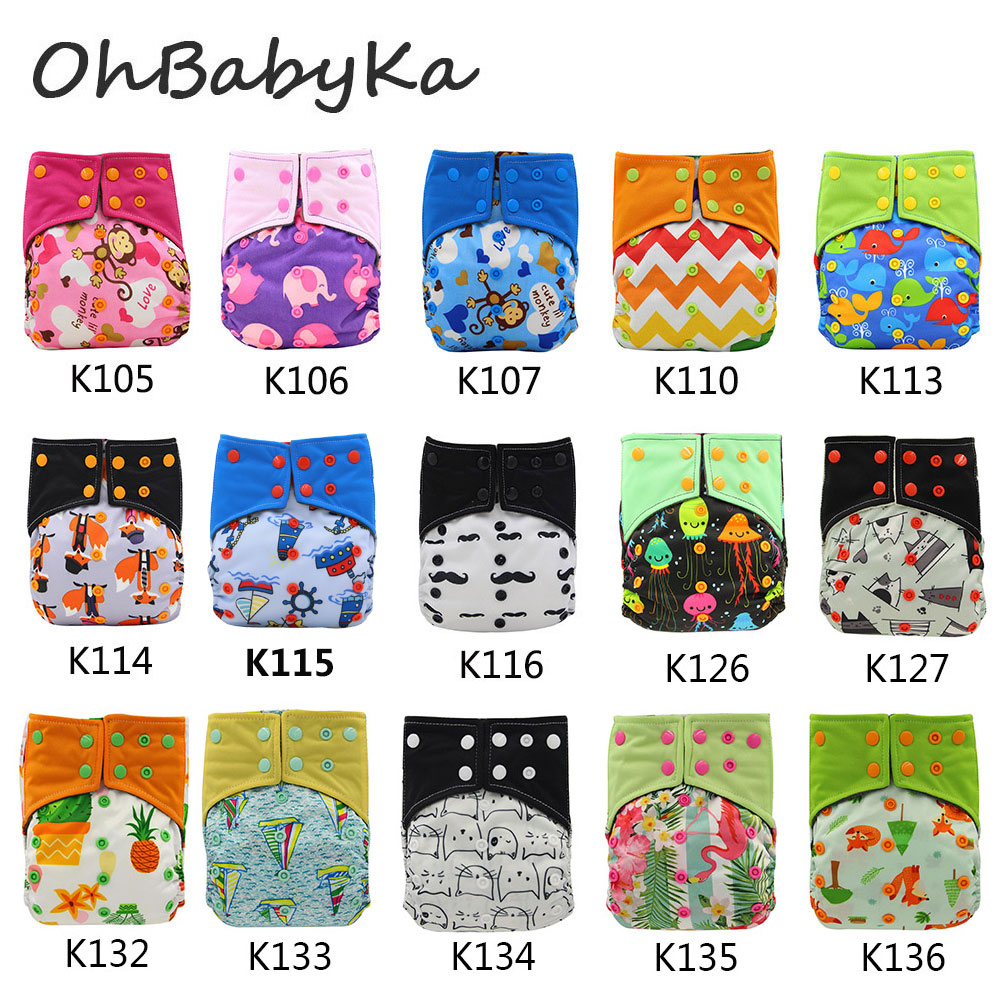 Ohbabyka Waterproof Bamboo Charcoal AI2 Pocket Diaper Cover 10Pcs Washable Diapers with 10 Pcs Microfiber Diaper Inserts Newborn