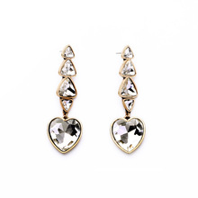 2016 New Popular Jewelry Faceted Crystal Heart Dangle Drop Earrings Gold Fashion Women Wedding Bridal Earrings Wholesale E2304