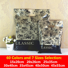 9x15 15x20 20x26 Storage Gift Bag Plastic Print Plastic Bags With Handles For Clothes Supermarket Shopping Package Bag Wedding(China)