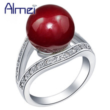 49% off Dropshipping USA Sale Simulated Pearl Ring For Women Jewelry Silver Color Rings Jewelery Red Bague Femme Black J381