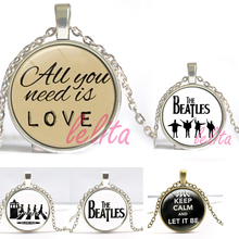The Beatles Necklace,,Glass Picture Pendant, Music Pendant Band Jewelry,Glass Cabochon Necklace for men and women