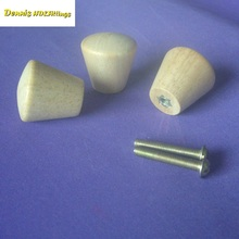 50PCS/LOT Dia25*H25mm Unpainted Solid Wood Knob Furniture Chest Drawer With Screws(China)