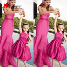 Fuchsia Flower Girls Dress For Weddings Short Jewel Neck Satin Knee Length A Line Kids Pageant Gowns 2016 Mother Daughter Family