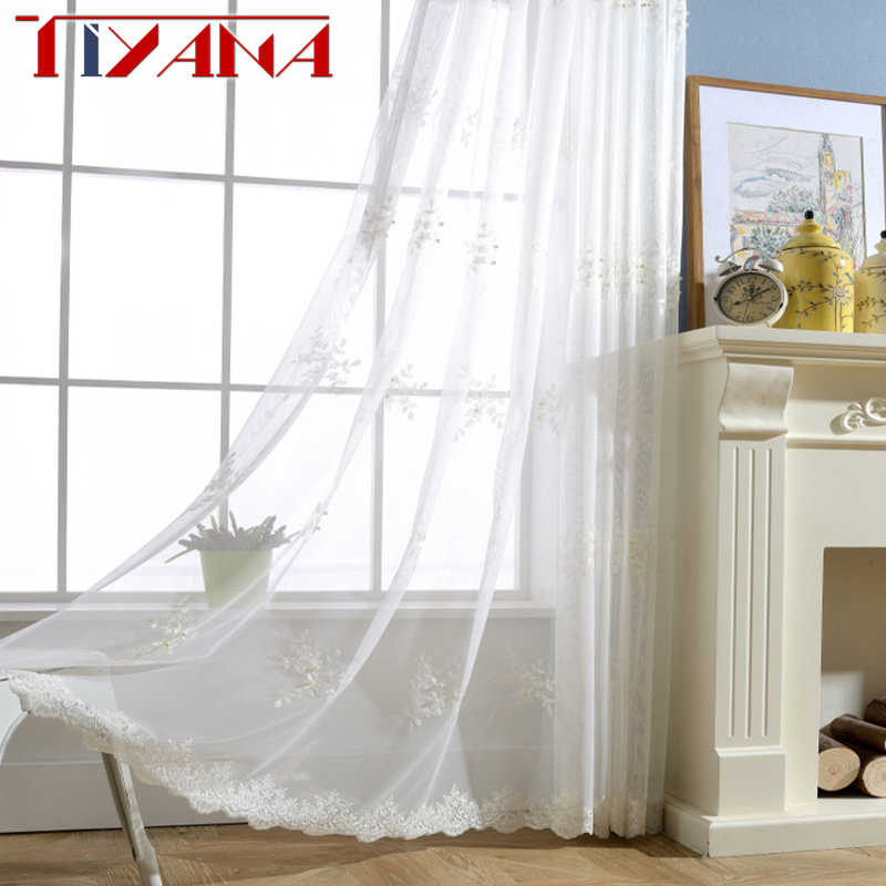 New Embroidered White Voile Sheer Curtains With Pearl Transparent Floral Tulle For Living Room Bedroom Visillos Cortinas wp226&2