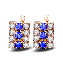 Wholesale party collection sterling silver jewelry rose gold plated sapphire clip earrings for women with AAA grade cz stone(China)