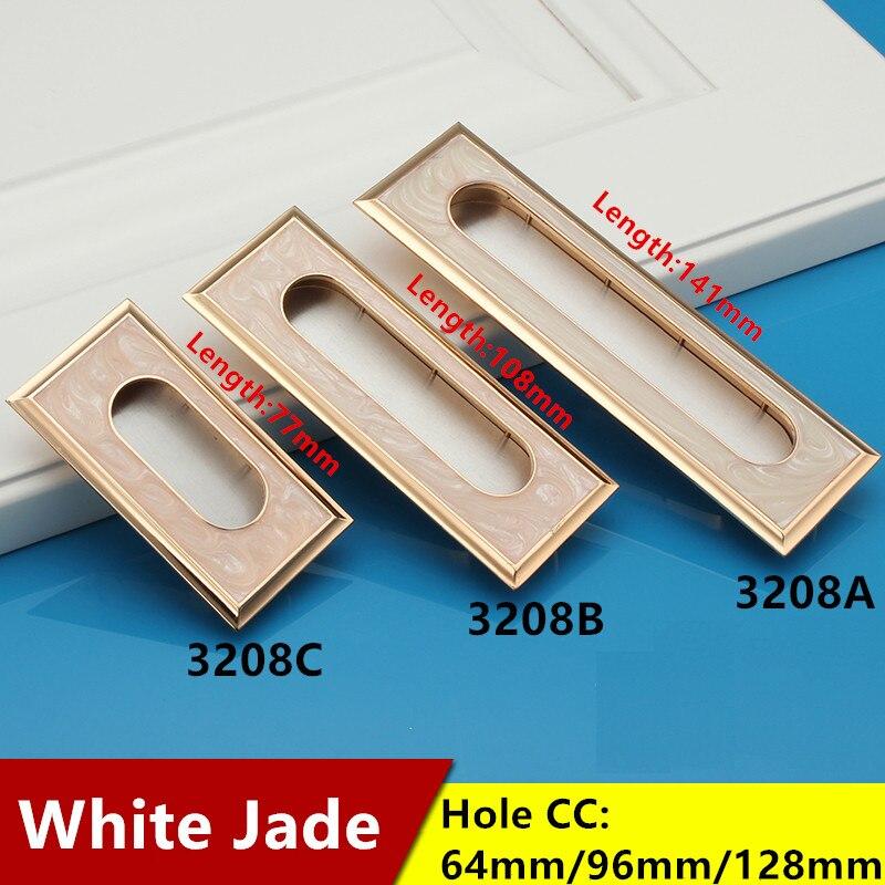Hole CC 64mm/96mm/128mm White Jade Color  hidden handle Zinc Alloy Kitchen pulls Furniture drawer knob<br><br>Aliexpress