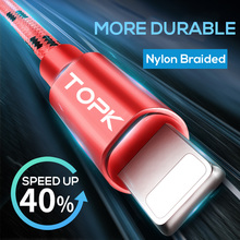 TOPK Soft Striped Cotton Braided Aluminum Casing Sync Data Charger USB Cable for iPhone X 8 7 6 6s Plus 5 5s iPad(China)