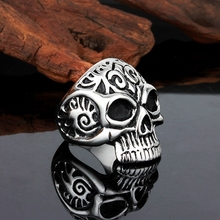 2017 New Punk Fashion Mens Skull Head Biker Finger Rings Gothic Punk Skeleton Rings Male Silver Color Jewelry