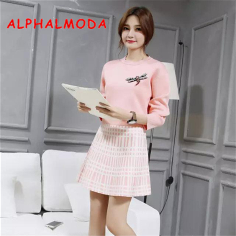 ALPHALMODA 2018 Crystal Dragonfly Long-sleeved Sweater Plaids Skirt Suit Women Autumn Graceful Knitted Jumper Outfit Skirt Sets